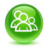 Csoport ikon üveges zöld kerek gomb