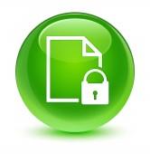 Biztonságos dokumentum ikon üveges zöld kerek gomb