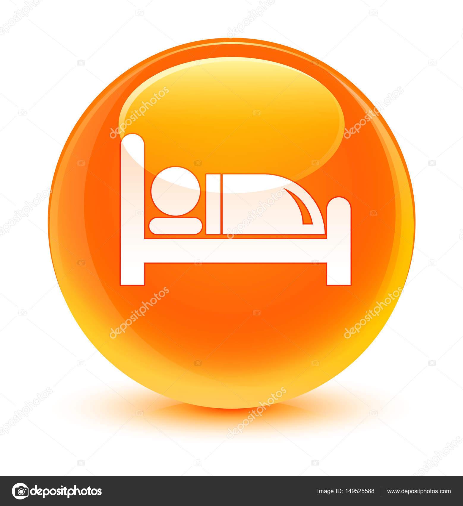 Hotel bed icon glassy orange round button — Stock Photo