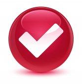Ikona sklovité růžové kulaté tlačítko ověřit