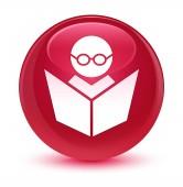 E-learning ikon üveges rózsaszín kerek gomb
