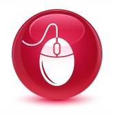 Ikona sklovité růžové kulaté tlačítko myši