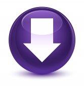 Stáhnout šipku ikony sklovité fialové kulaté tlačítko