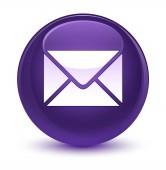 E-mailové ikony sklovité fialové kulaté tlačítko