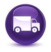 Dodací truck ikonu sklovité fialová kulaté tlačítko