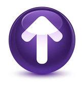 Nahrát šipku ikony sklovité fialové kulaté tlačítko