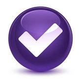 Ikona sklovité fialové kulaté tlačítko ověřit