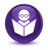 E-Learning sklovité fialové kulaté tlačítko
