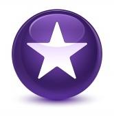Ikonu hvězdičky sklovité fialové kulaté tlačítko