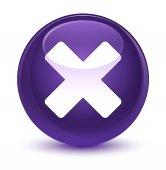 Mégse ikon üveges lila kerek gomb