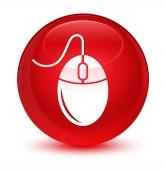 Ikona sklovité červené kulaté tlačítko myši