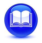 Könyv ikon üveges kék kerek gomb