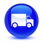 Dodací truck ikona sklovité modré kulaté tlačítko