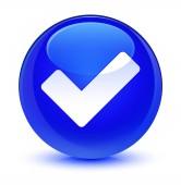 Ikona sklovité modré kulaté tlačítko ověřit