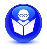E-Learning sklovité modré kulaté tlačítko