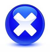 Ikona sklovité modré kulaté tlačítko Storno