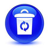 Koše ikonu sklovité modré kulaté tlačítko