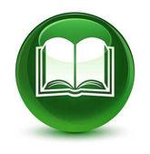 Kniha sklovité měkké zelené kulaté tlačítko