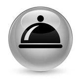 Food dish icon glassy white round button