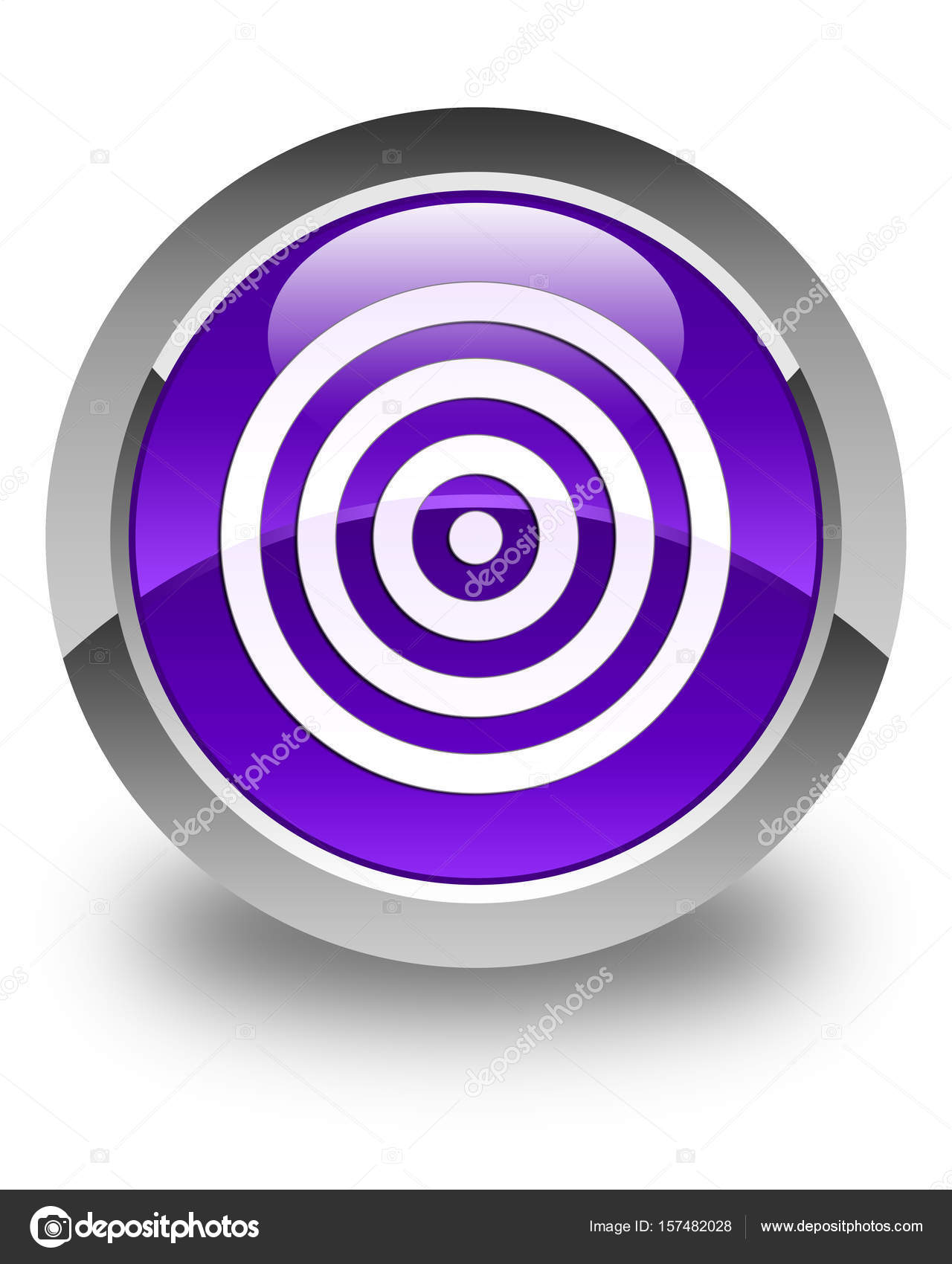 Brillante icono de objetivo púrpura alrededor botón — Foto de stock ...