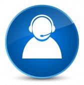 Zákaznické péče ikonu elegantní modré kulaté tlačítko