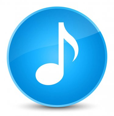 Music icon elegant cyan blue round button