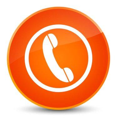 Phone icon elegant orange round button