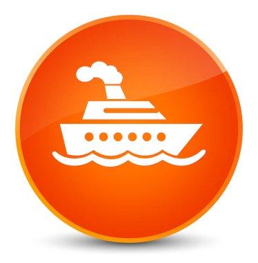 Cruise ship icon elegant orange round button