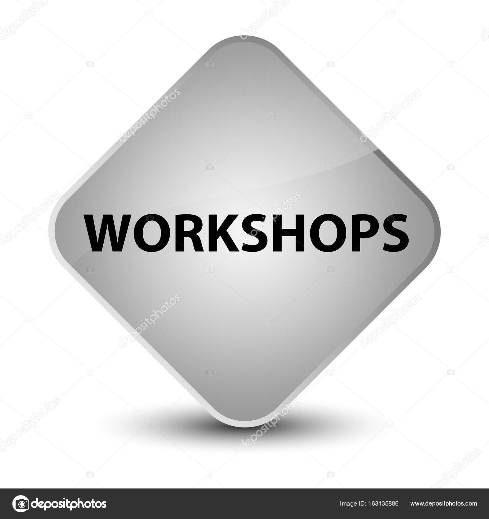 Workshops elegant white diamond button — Stock Photo