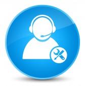 Technické podpory ikonu elegantní azurová modrá kulaté tlačítko
