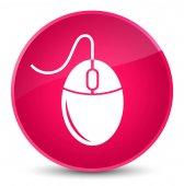 Ikona elegantní růžové kulaté tlačítko myši