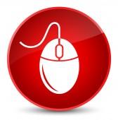 Ikona elegantní červené kulaté tlačítko myši