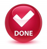 Done (validate icon) glassy pink round button