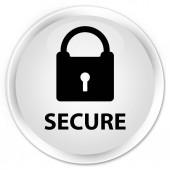 Secure (ikona visacího zámku) premium bílé kulaté tlačítko