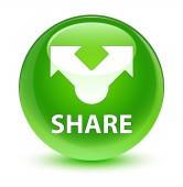 Share üveges zöld kerek gomb