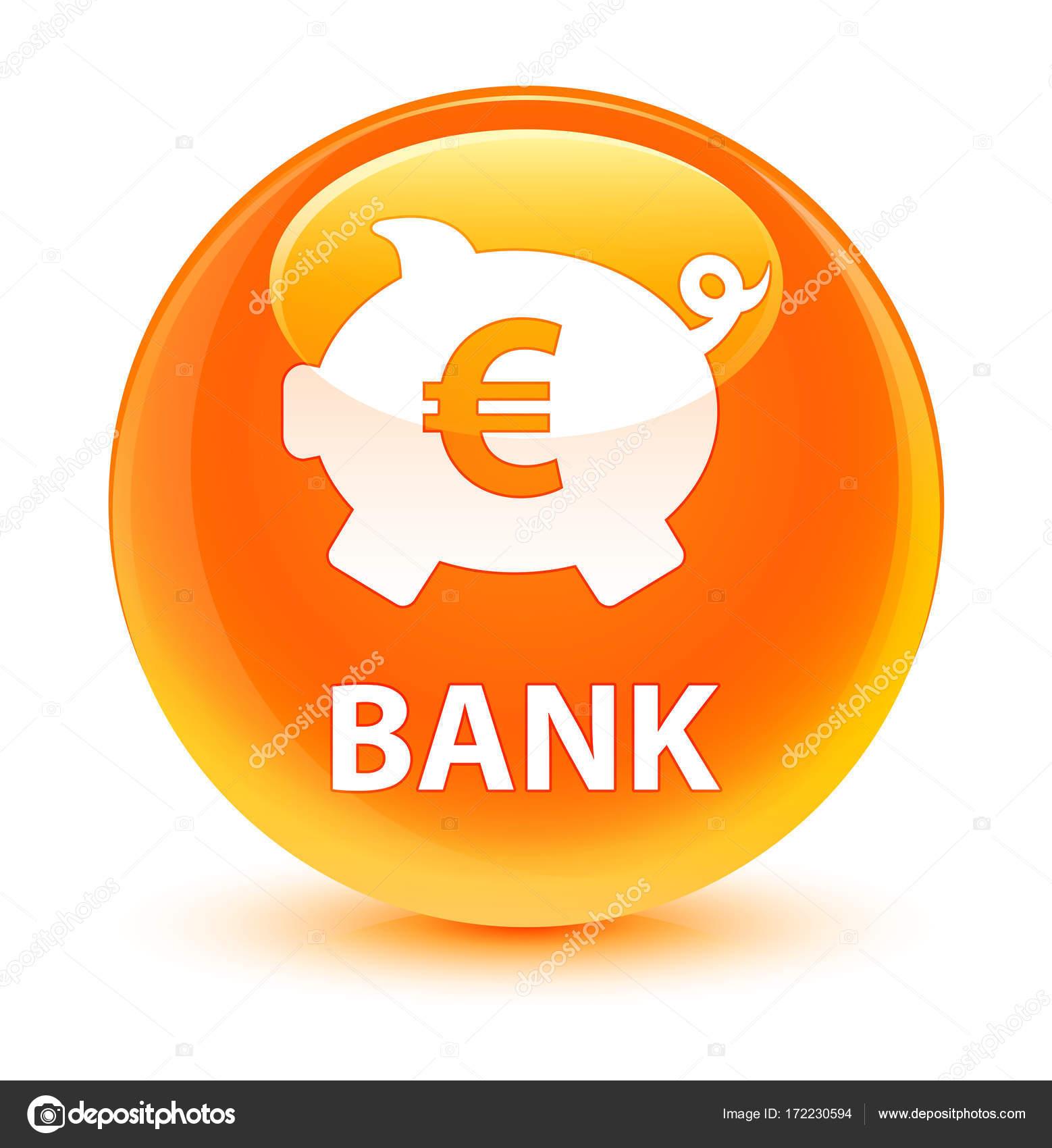 Bank Piggy Pole Znak Euro Szklisty Orange Okrgy Przycisk