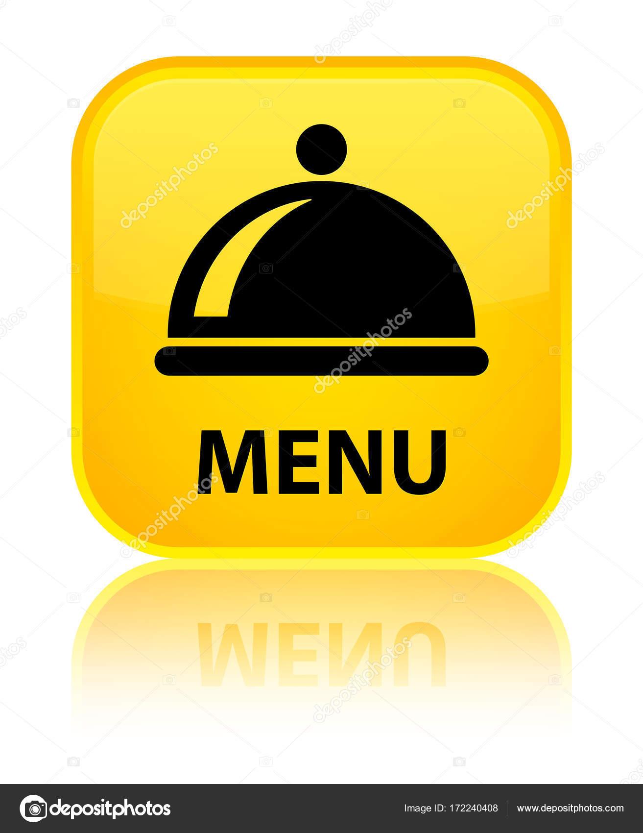 Menu Food Dish Icon Special Yellow Square Button Stock Photo