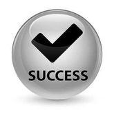 Success (validate icon) glassy white round button