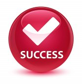 Success (validate icon) glassy pink round button
