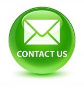 Lépjen kapcsolatba velünk (elektronikus levél ikon) üveges zöld kerek gomb
