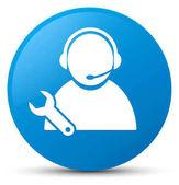 Tech podporu ikona azurová modrá kulaté tlačítko