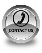 Kontaktujte nás (ikony telefonu) lesklé bílé kulaté tlačítko