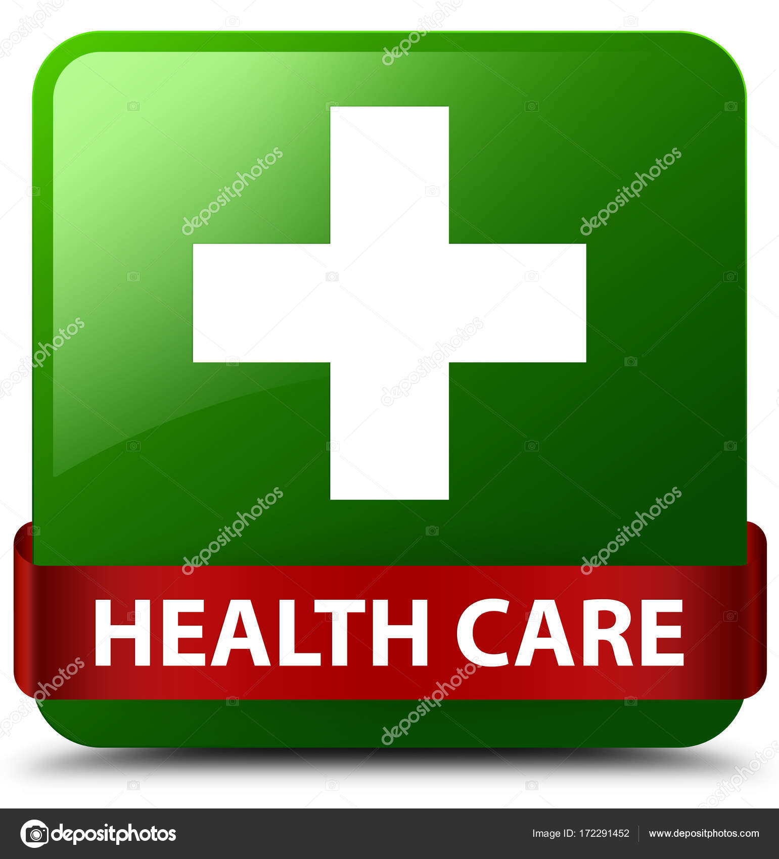 Health Care Plus Sign Green Square Button Red Ribbon In Middle