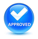 Approved (validate icon) glassy cyan blue round button