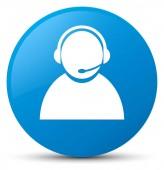 Zákaznické péče ikonu azurová modrá kulaté tlačítko