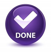 Done (validate icon) glassy purple round button
