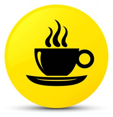 Coffee cup icon yellow round button