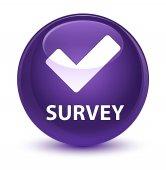 Survey (validate icon) glassy purple round button