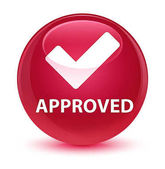 Approved (validate icon) glassy pink round button