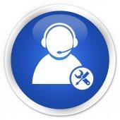 Tech podporu ikonu premium modré kulaté tlačítko